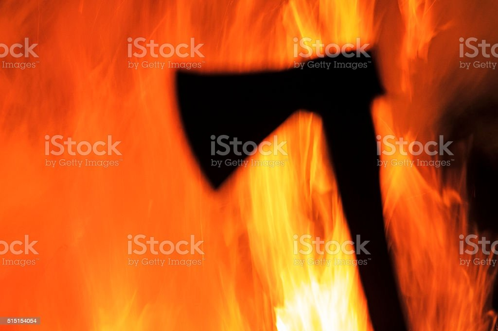 tomahawk silhouette and hellfire stock photo