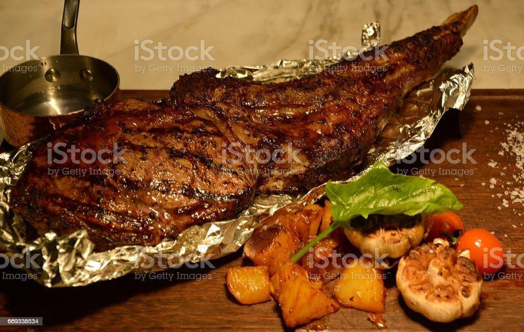 Tomahawk steak at Just Love Steakhouse, Lujiazui, Shanghai, China stock photo