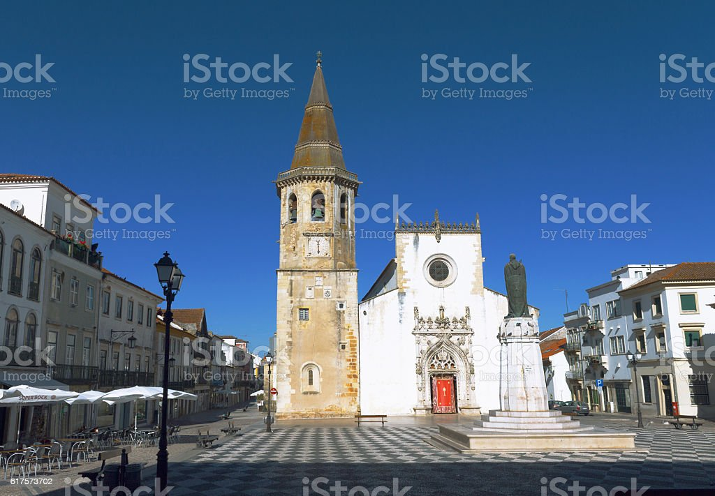 Tomar church on square. Portugal stock photo