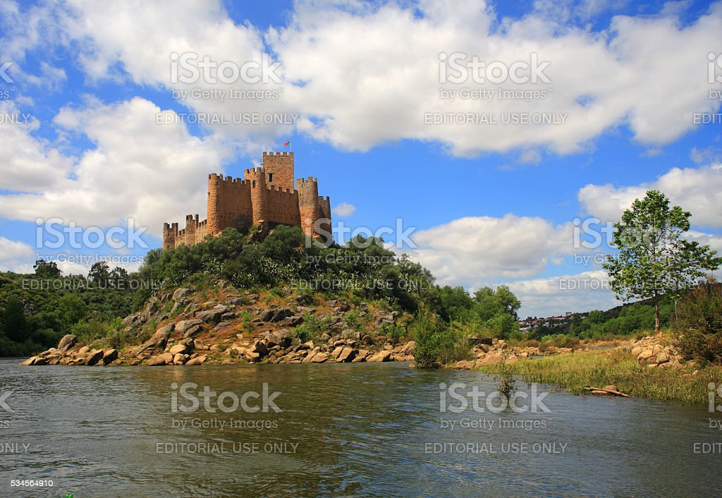 Tomar, Santarem district, Ribatejo, Portugal. The medieval Almourol Castle. stock photo