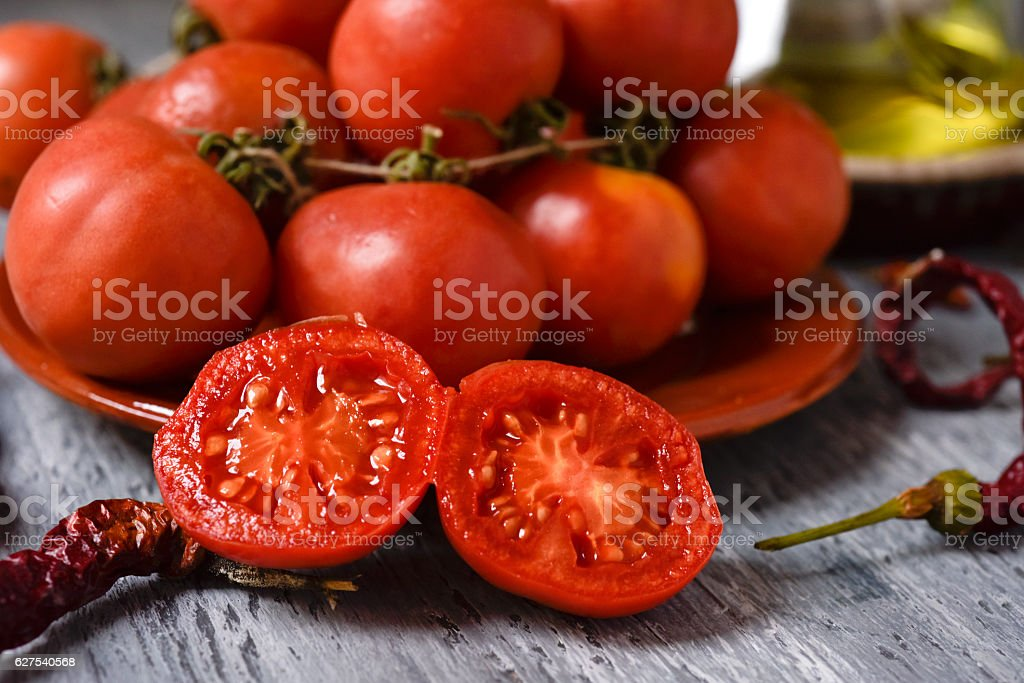 tomates de colgar, a typical spanish species of tomatoes stock photo