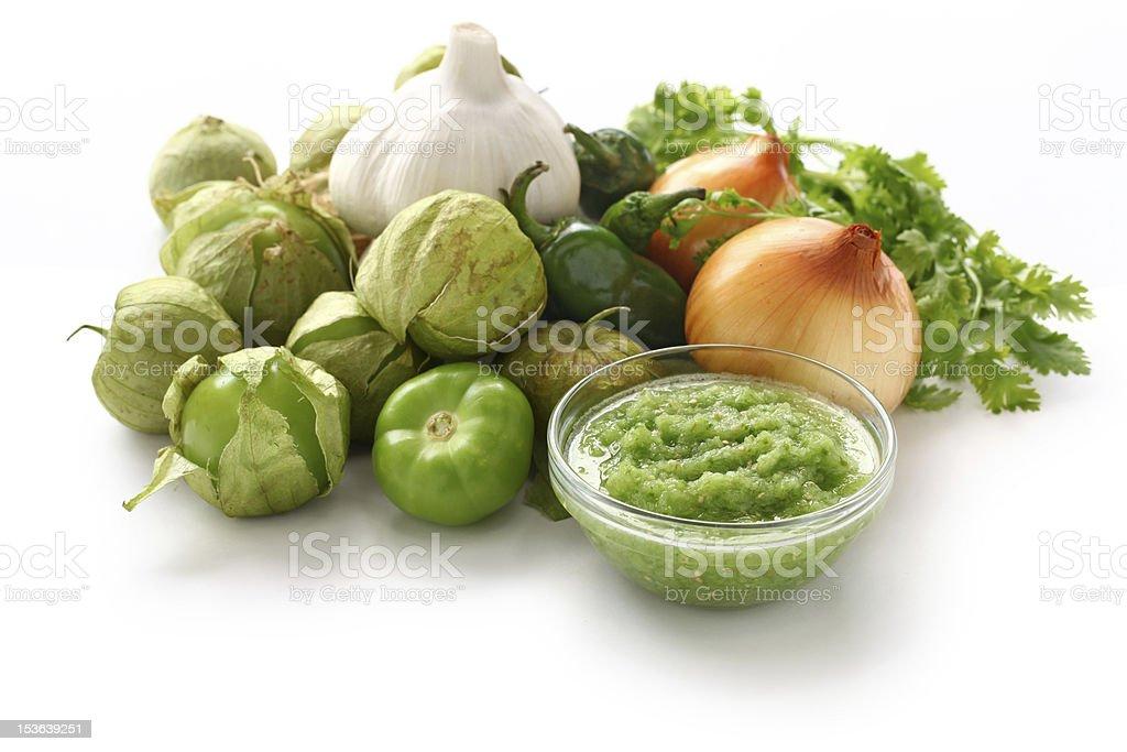 tomatillo salsa verde ingredients stock photo