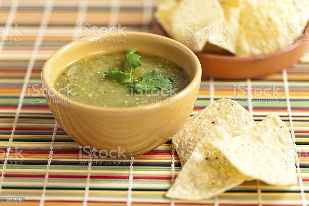 Tomatillo salsa verde stock photo
