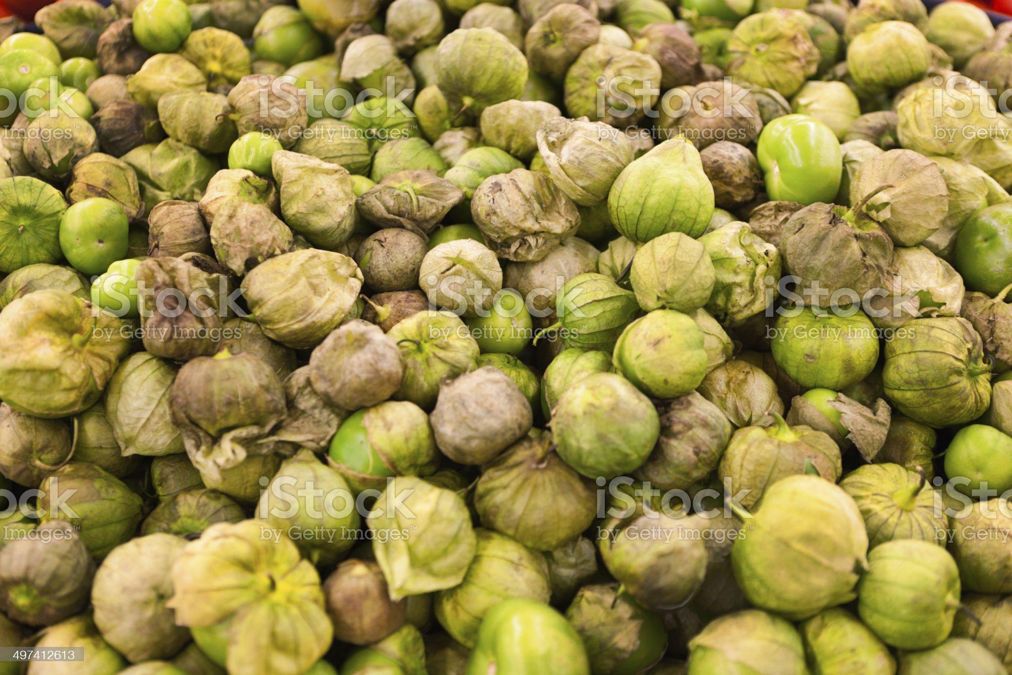 Tomatillos in Market Display royalty-free stock photo