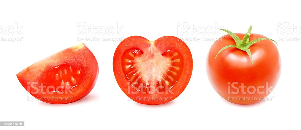Tomato and a slice of tomato. stock photo