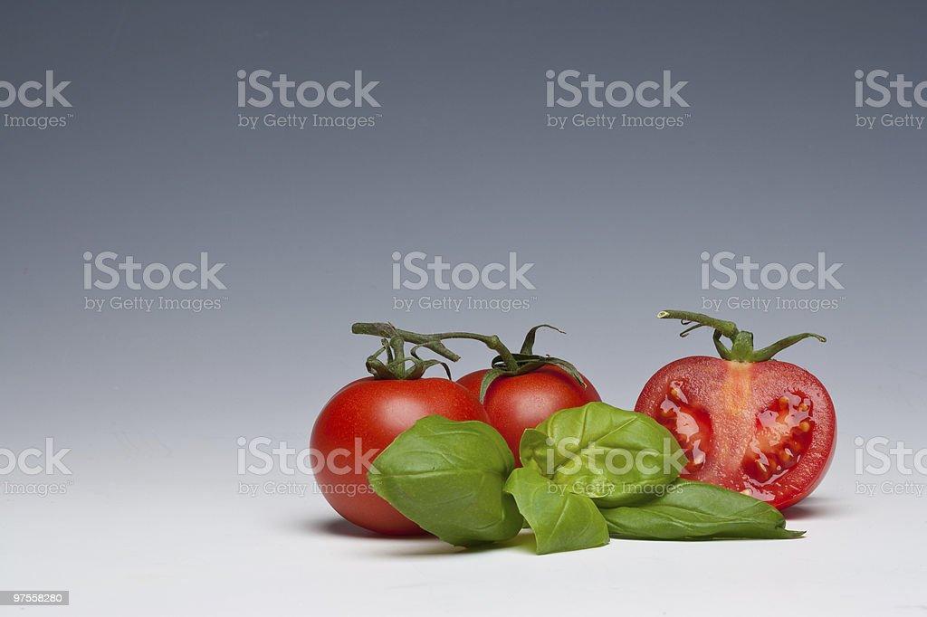 Tomato and Basil herb stock photo