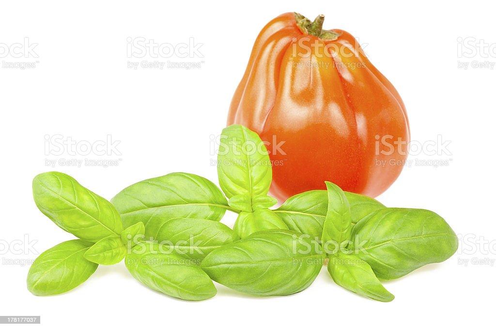 tomato and basil stock photo
