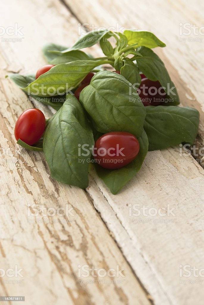 Tomato and basil royalty-free stock photo