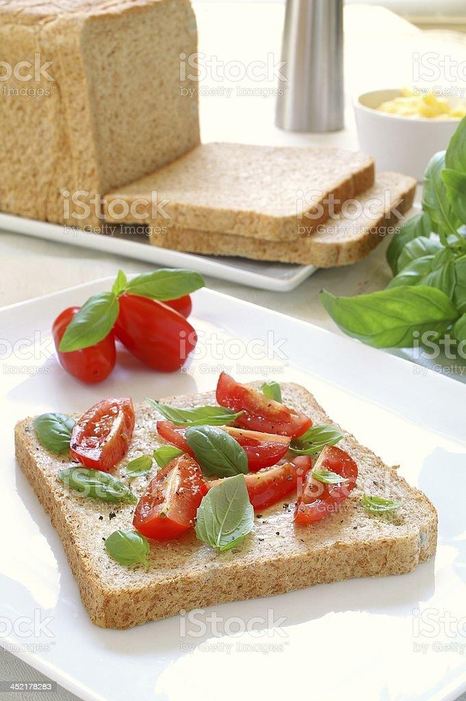 tomato and basil sandwich snack stock photo