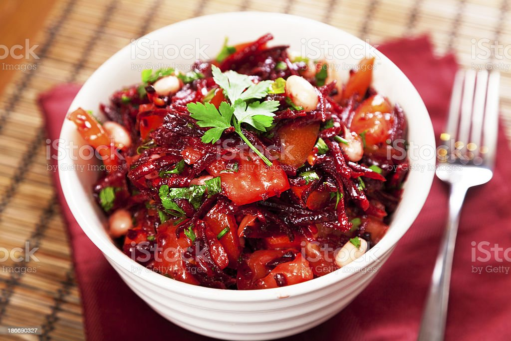 Tomato and beetroot salad royalty-free stock photo