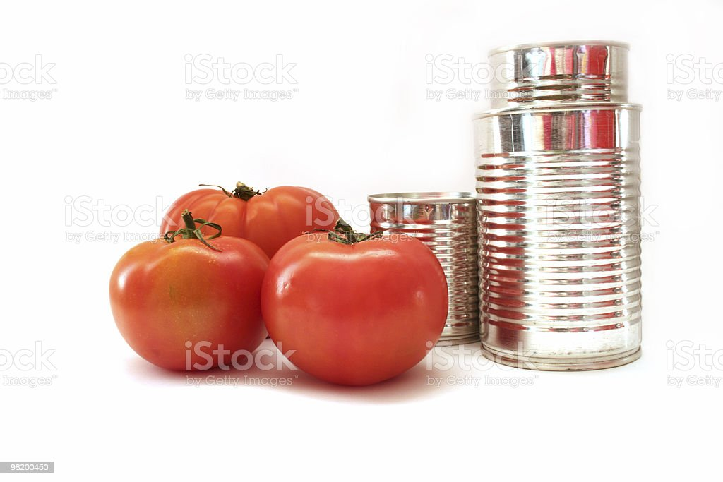 Tomato and can stock photo