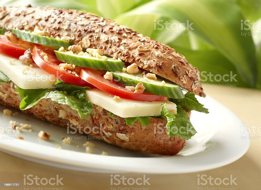 Tomato and cheese sandwich stock photo