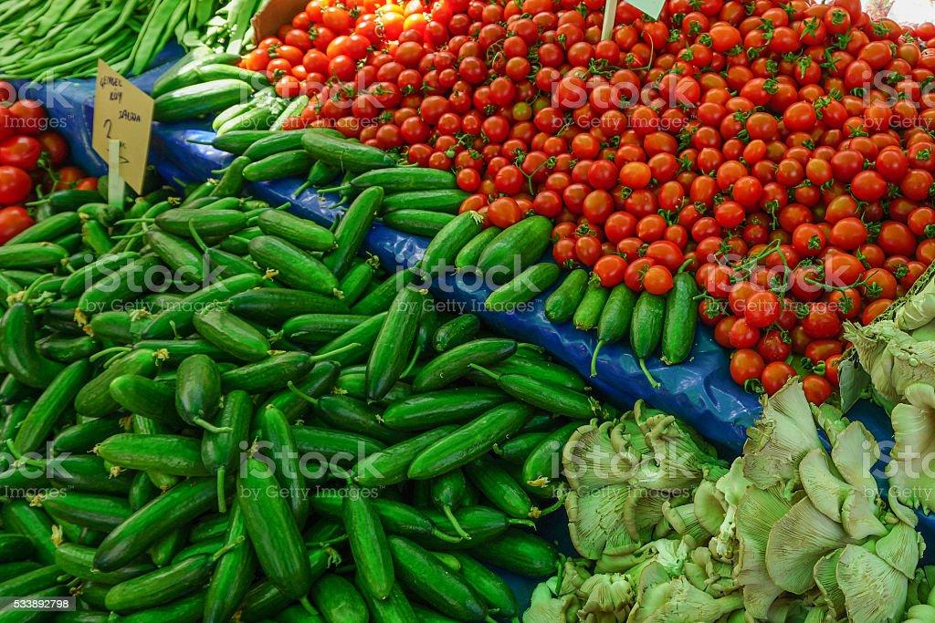 tomato and cucumber stock photo