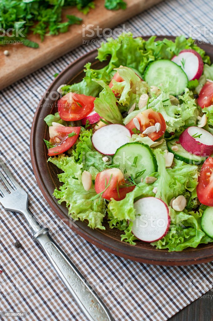 Tomato and cucumber salad with lettuce leafes stock photo