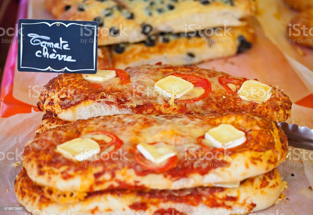 Tomato and Goat Cheese Provence Fougasse stock photo