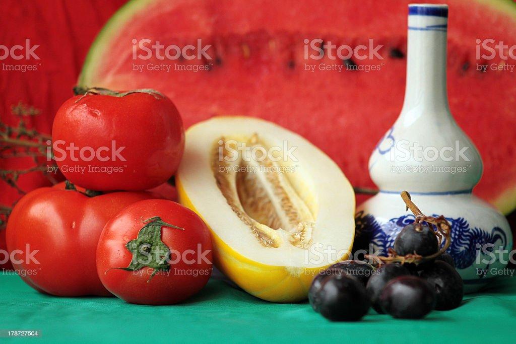 Pomodoro e melone Still Life foto stock royalty-free