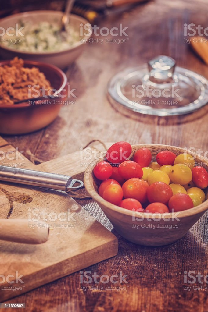 Tomato and Minced Meat Filling for Raivioli stock photo