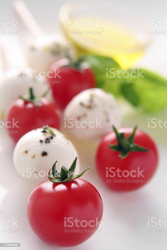 Tomato and mozzarella brochettes stock photo
