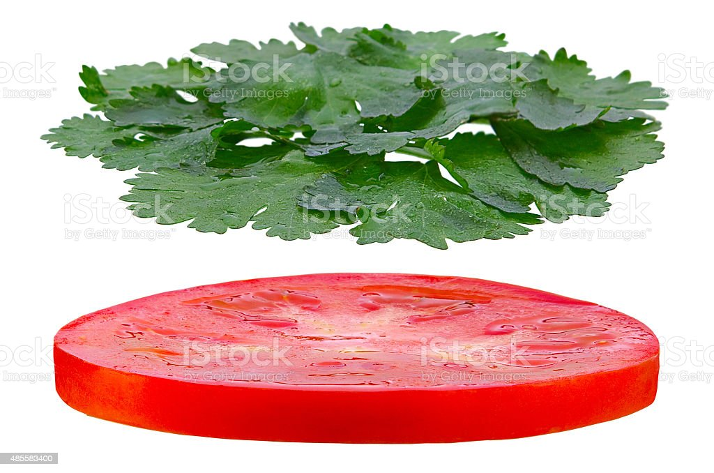Tomato and parsley herb round stock photo