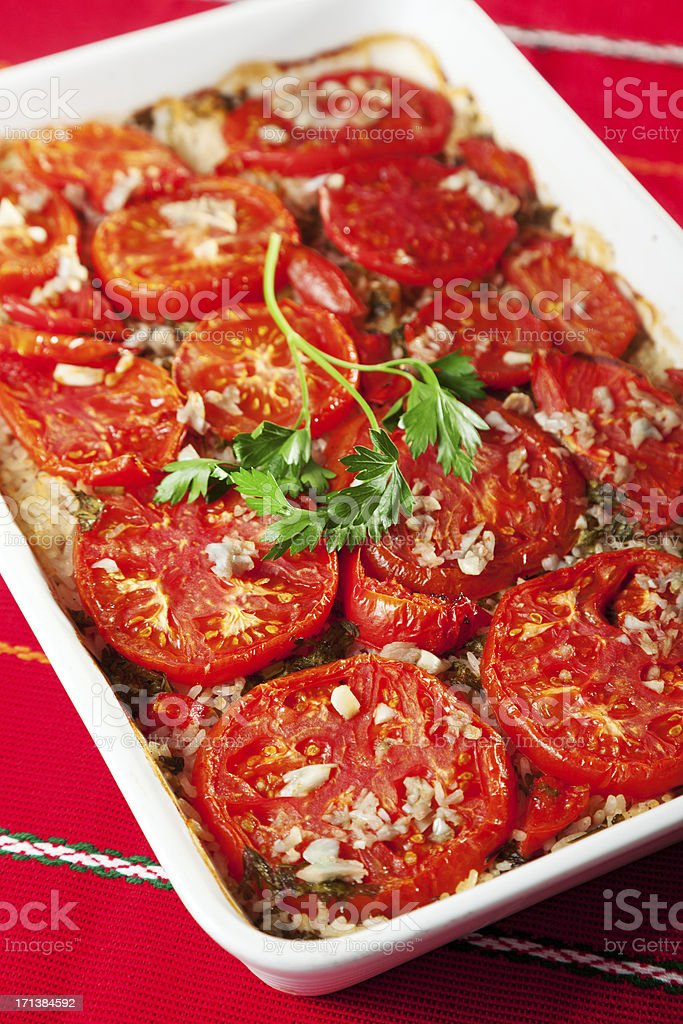 Tomato and rice casserole royalty-free stock photo