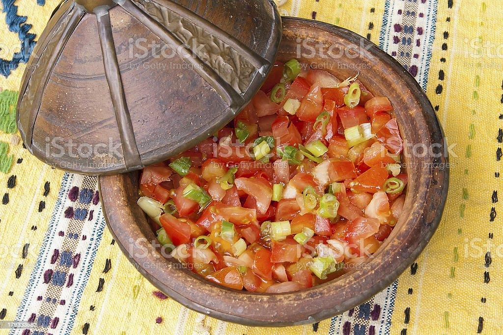 Tomato and spring onion salad stock photo