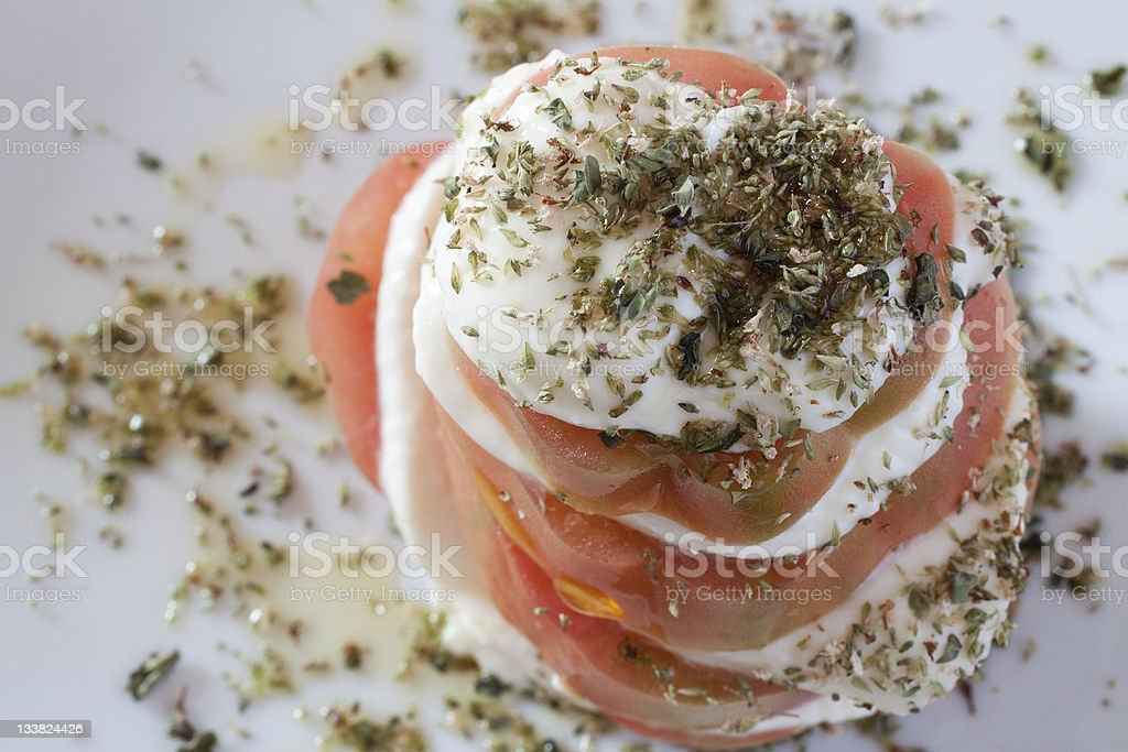 Tomato and Stracchino sandwich stock photo