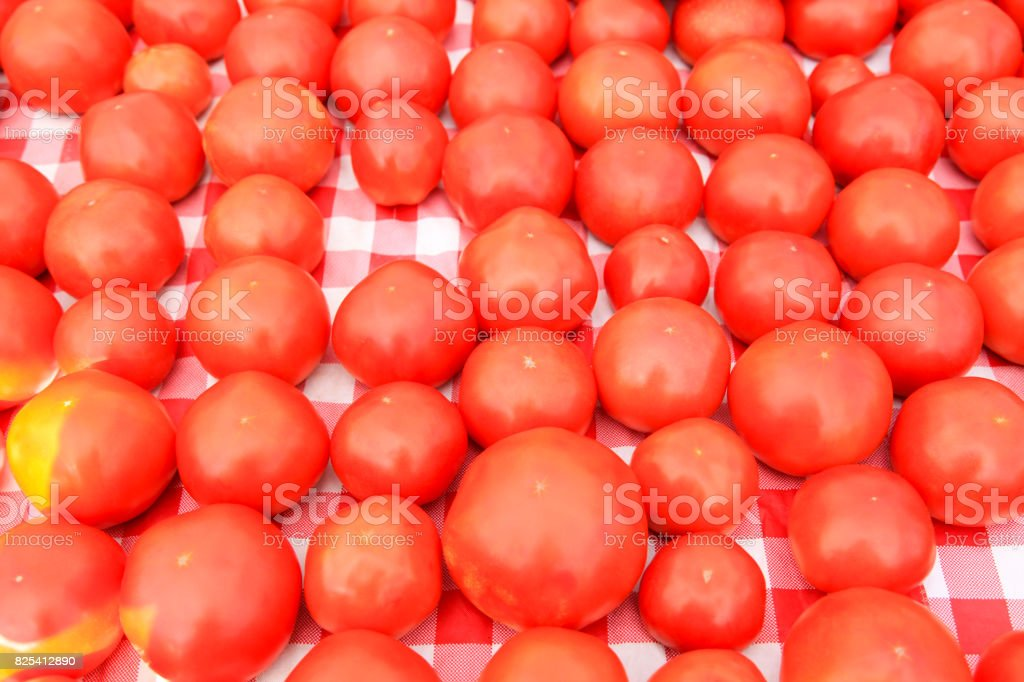 Tomato at Market Stall stock photo