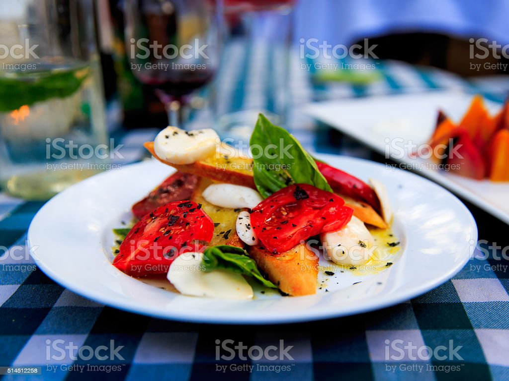 Tomato Basil Cheese Caprese Salad Appetizer stock photo