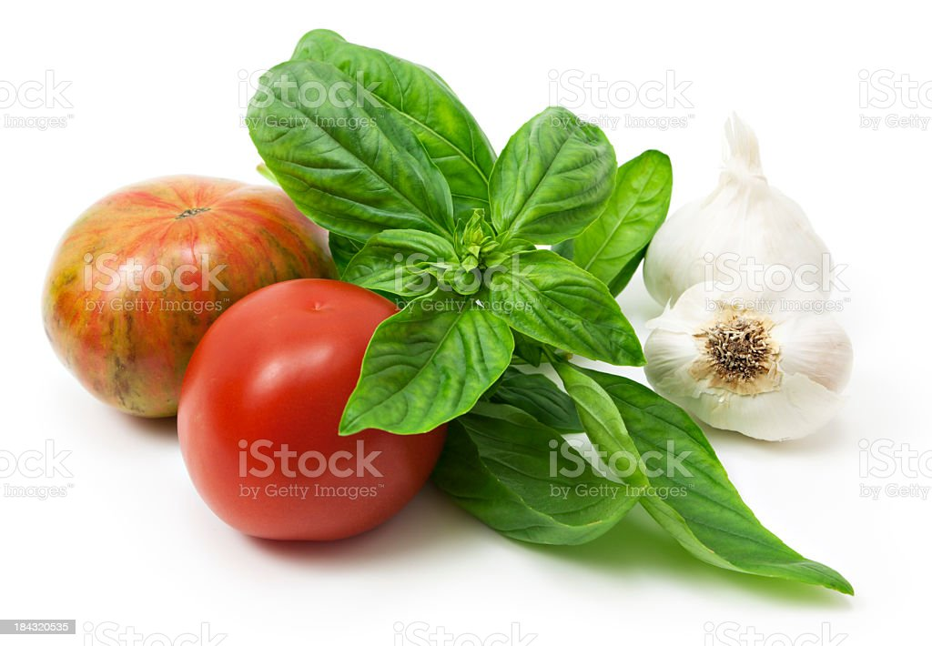 Tomato basil garlic stock photo