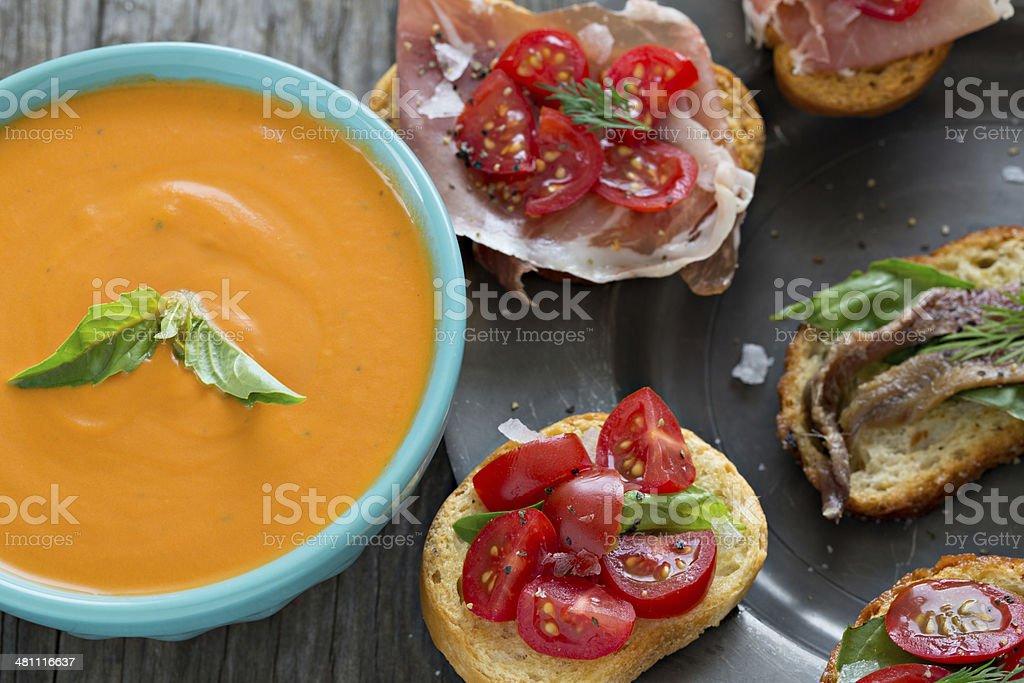 Tomato Basil Soup And Bruschetta royalty-free stock photo