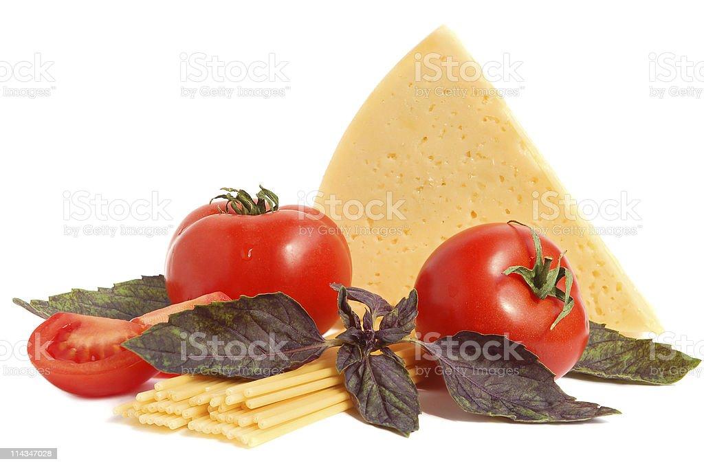 Tomato, cheese, macaroni and basil royalty-free stock photo