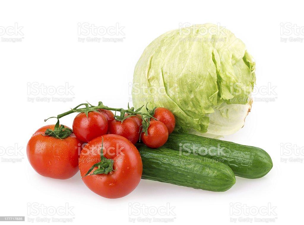 tomato, cucumber, cabbage royalty-free stock photo