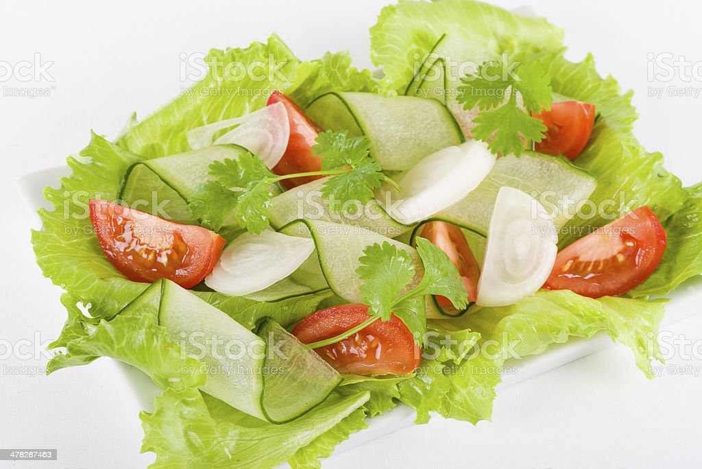 Tomato, Cucumber, Onion and Lettuce Salad royalty-free stock photo