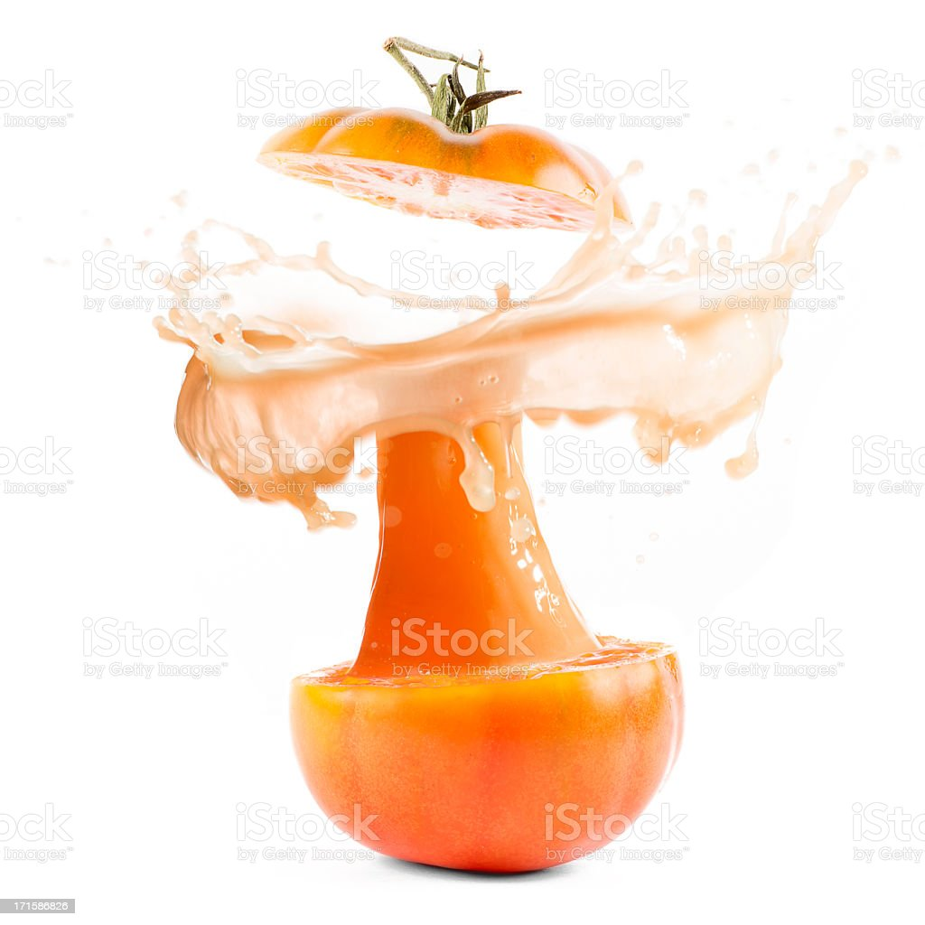 Tomato explosion juice splash royalty-free stock photo