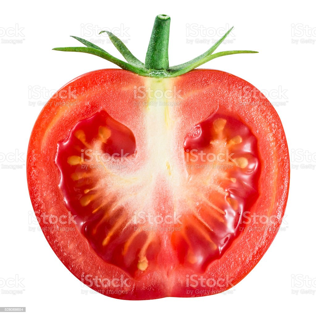 Tomato. Half isolated on white. With clipping path. stock photo