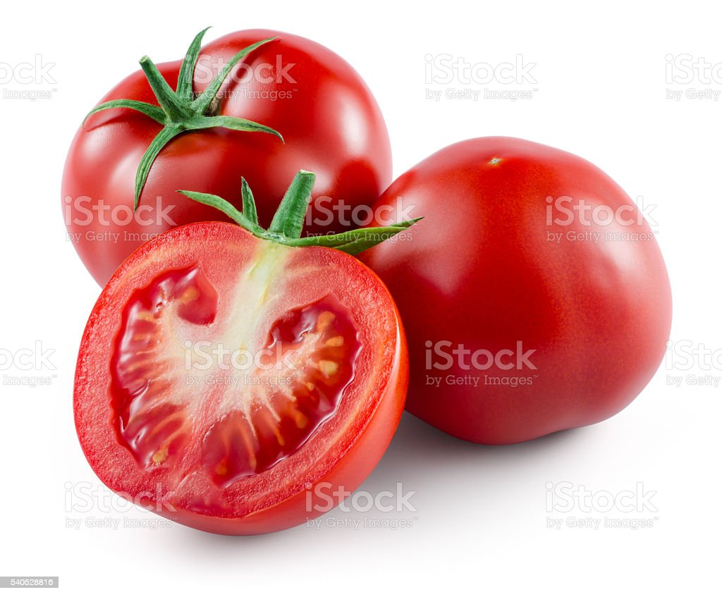 Tomato isolated on white. With clipping path. stock photo
