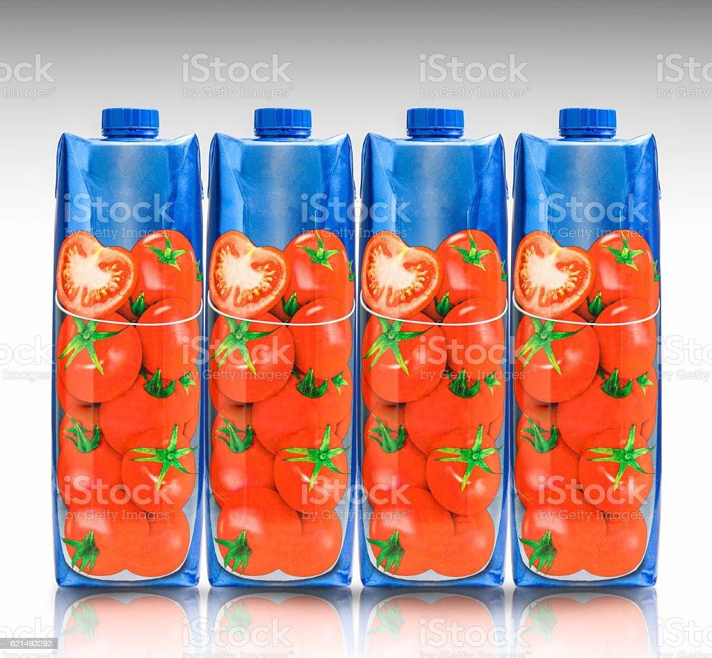 Tomato juice cardboard container stock photo