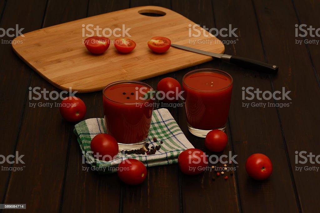 Tomato juice, tomatoes stock photo