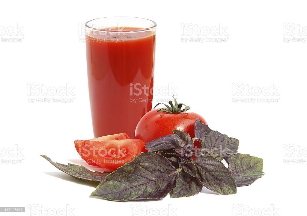 Tomato juice with basil royalty-free stock photo