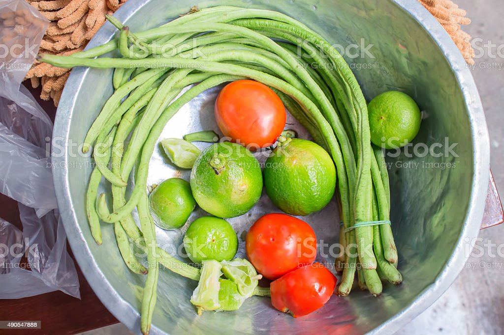 Tomato, lime, lentil and bergamot for cooking stock photo