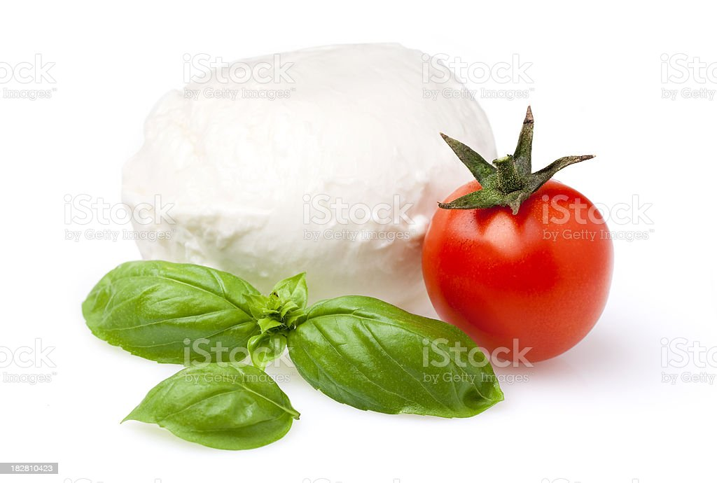 Tomato, mozzarella and basil royalty-free stock photo