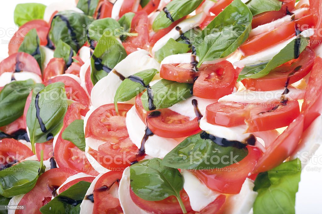Tomato, mozzarella, basil and balsamico. royalty-free stock photo