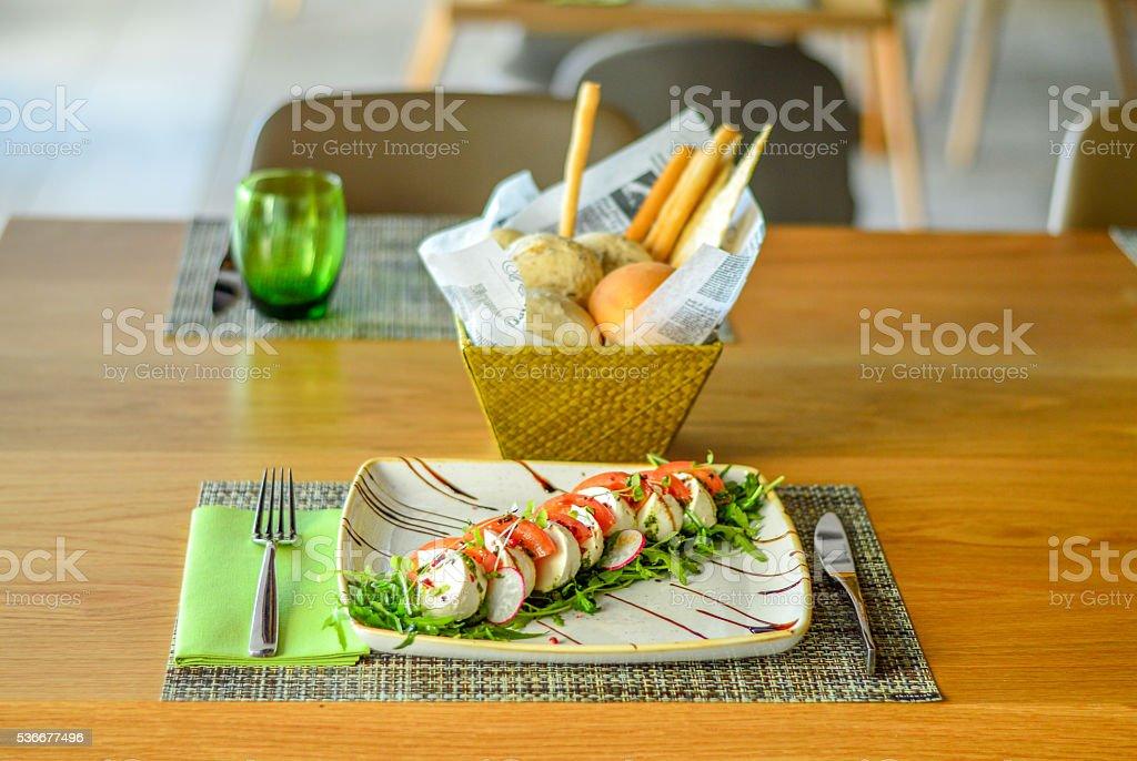 Tomato Mozzarella Salad with bread stock photo