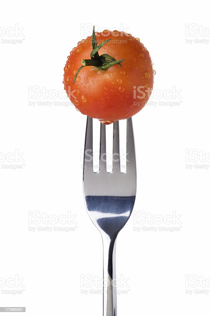 Tomato on a Fork royalty-free stock photo