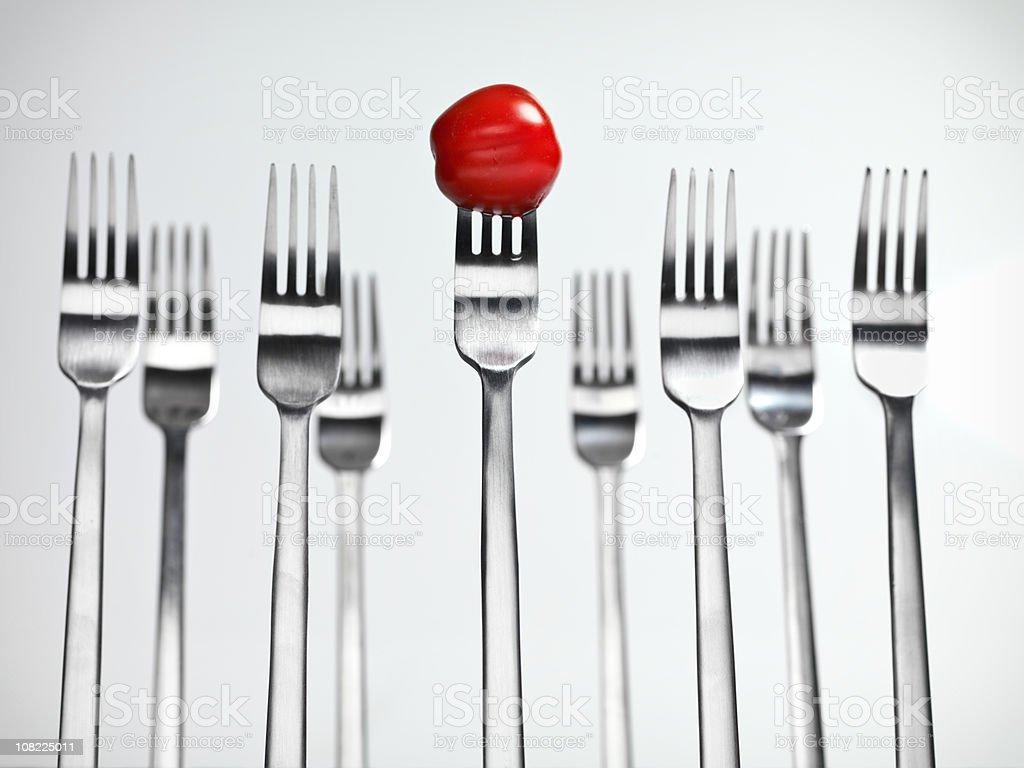 Tomato on Fork royalty-free stock photo