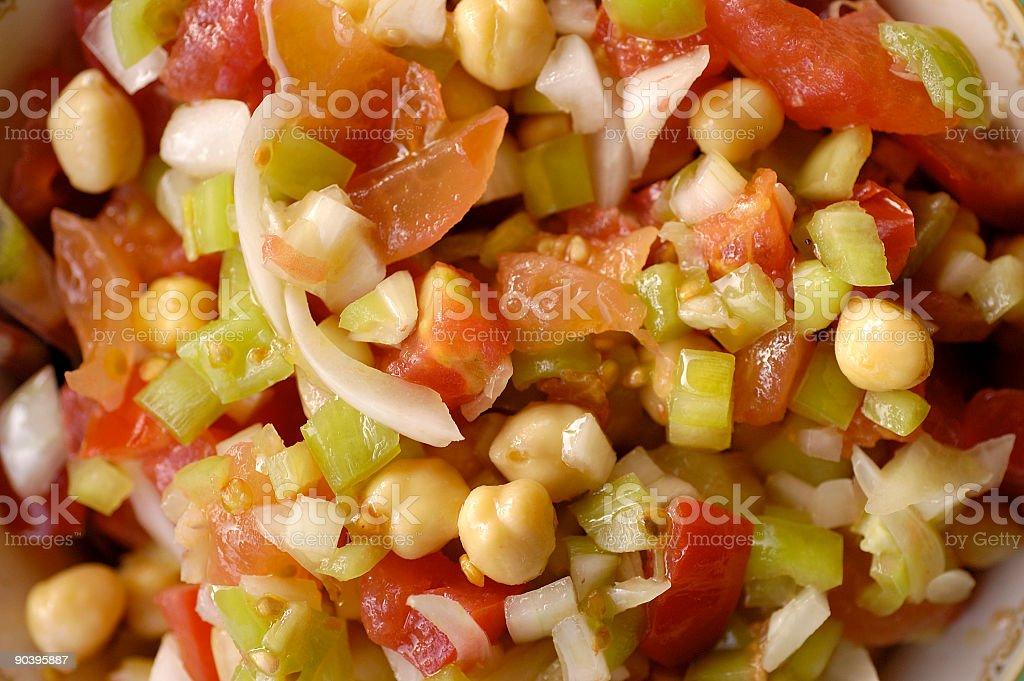 tomato, onion,green pepper,peas salad royalty-free stock photo