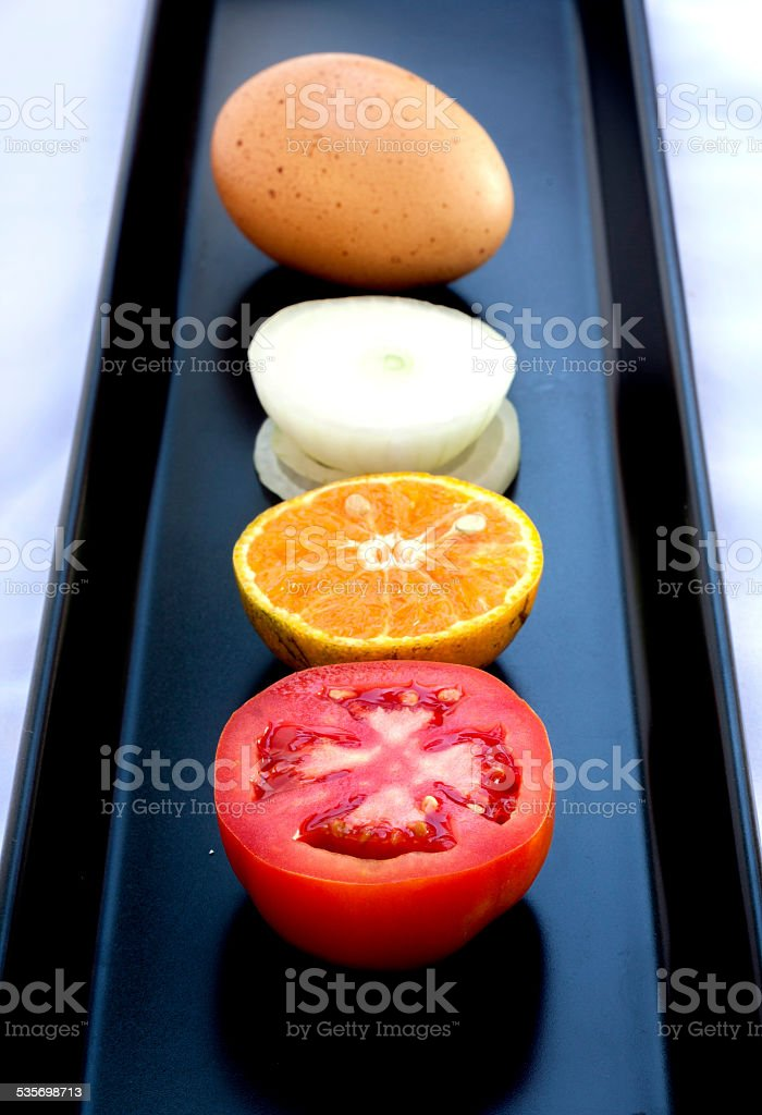 Tomato orange onion and egg royalty-free stock photo