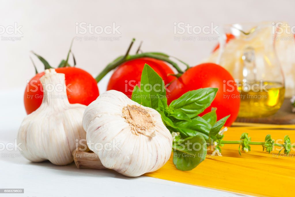 Tomato, pasta, basil stock photo
