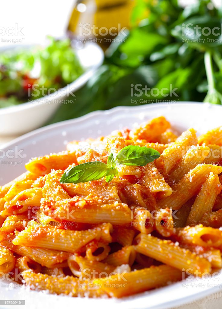 Penne al pomodoro stock photo