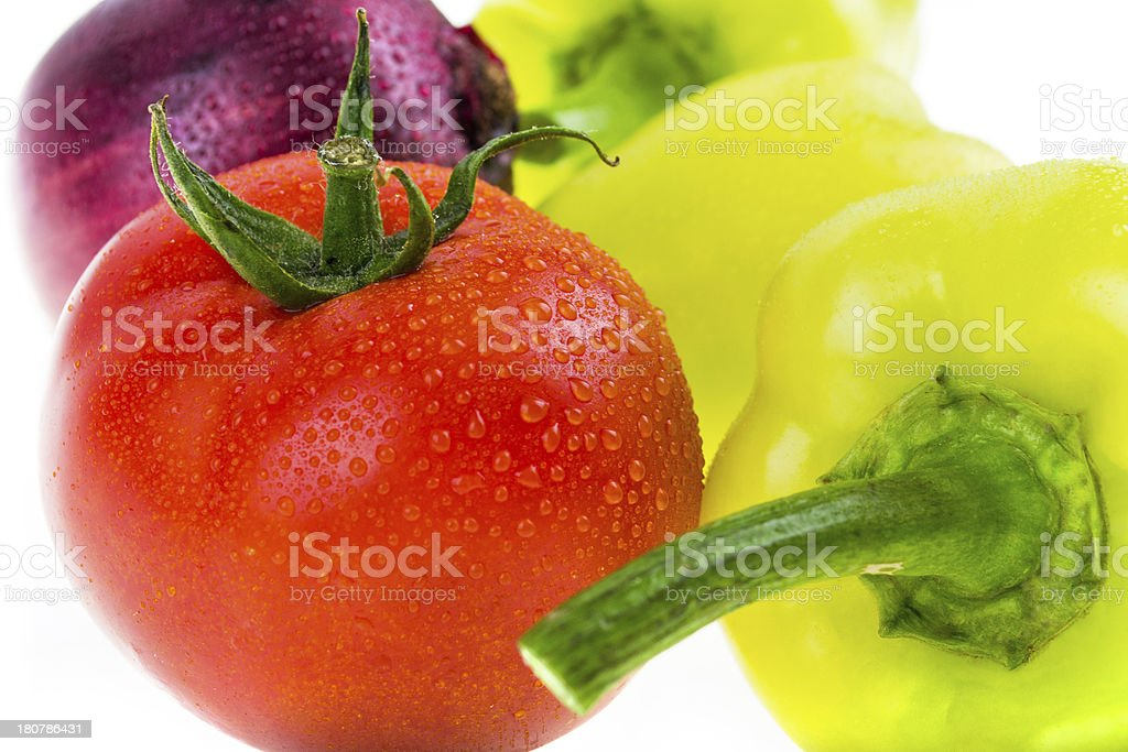 tomato, pepper, onion isolated on white background royalty-free stock photo